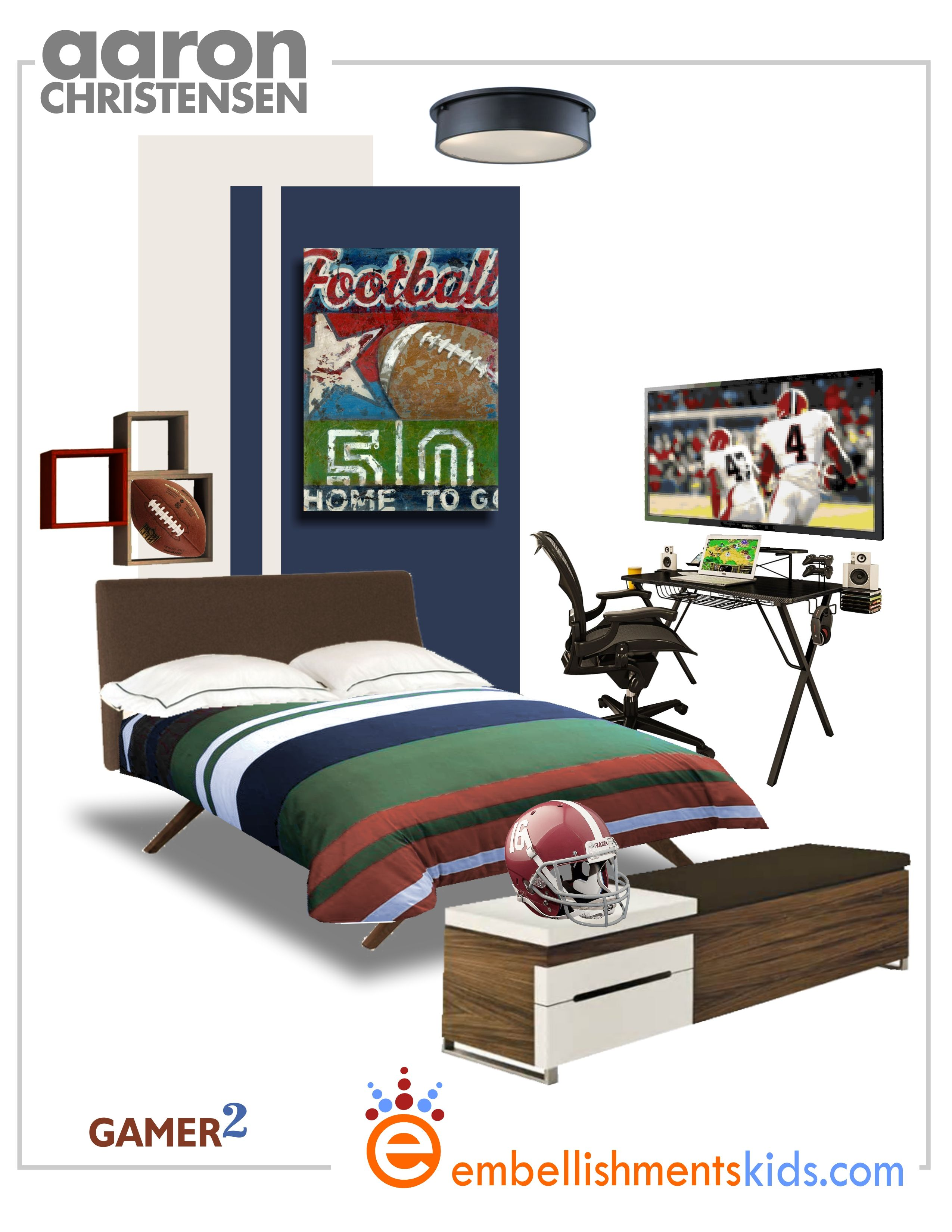 2150f60d89e Football Sports Gamer and Fan s Room Decor and Idea Mood board featuring  Line up Wall Art by Aaron Christensen