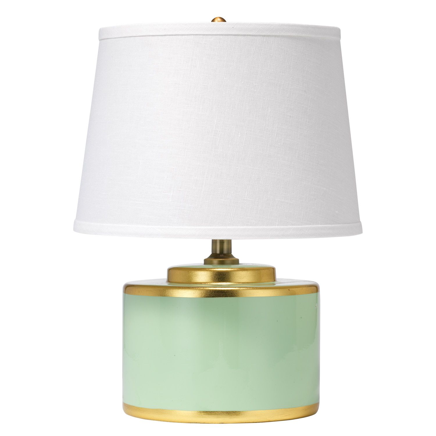 Jamie Young S Basin Lamp Lends Luminous Lighting To Bedsides And Tabletops Encircled With Gold For A Metallic Touch This Drum Shaped Fi Teal Table Lamps Table Lamp Ceramic Table Lamps