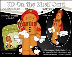 3D On The Shelf Card Kit - Christmas Gingerbread Man Has A Snowball Fight