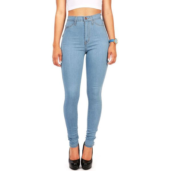 Pink Ice Timeless Fade High Waist Skinny Jeans (€35) ❤ liked on Polyvore featuring jeans, bottoms, denim, pants, vintage high waisted skinny jeans, stretch skinny jeans, high rise jeans, high-waisted skinny jeans and high waisted jeans