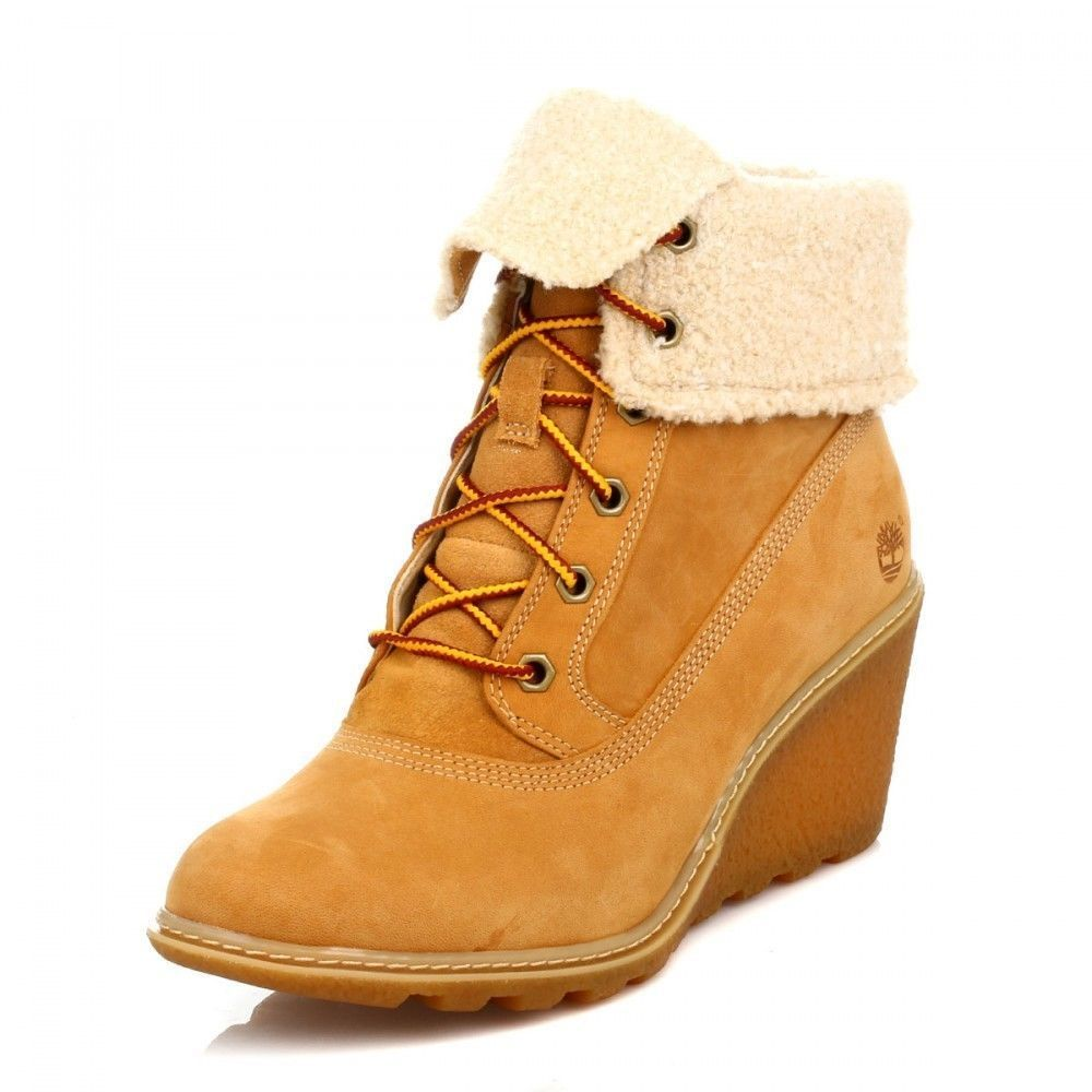 Timberland 8257A Earthkeepers Amston Roll Top Womens Size Boots Wheat Wedge  Boot
