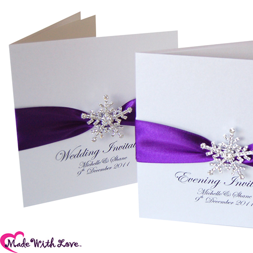 Snowflake Purple Wedding Invitations U0026 Winter Purple Stationery   Different  Color Than Purple Though.