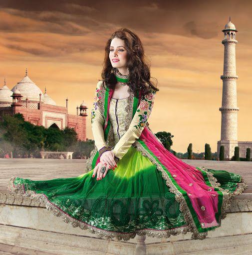 StylishKart - Vivacious Aloe Vera Green & Bottle Green Salwar Kameez