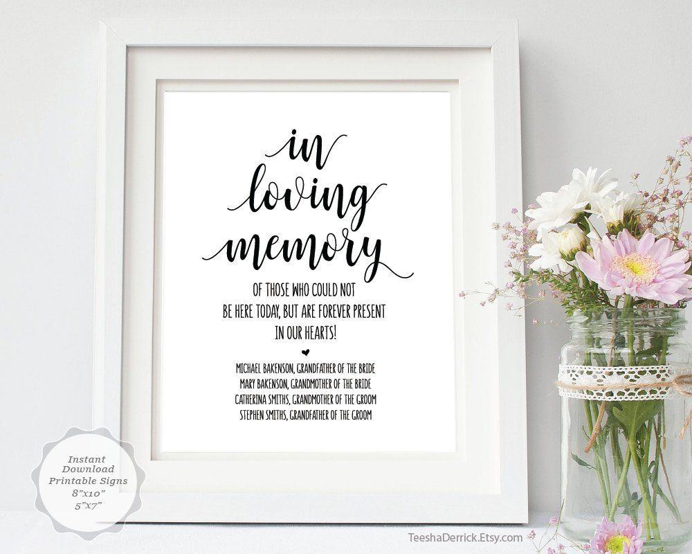 In Loving Memory Sign Template File Editable Pdf Template Funeral Memorial Sign Wedding Memorial Table In Loving Memory Memory Table Wedding Memorial Signs