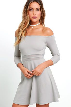 dd70dc1a6d84 Yes to the Mesh Grey Skater Dress at Lulus.com!