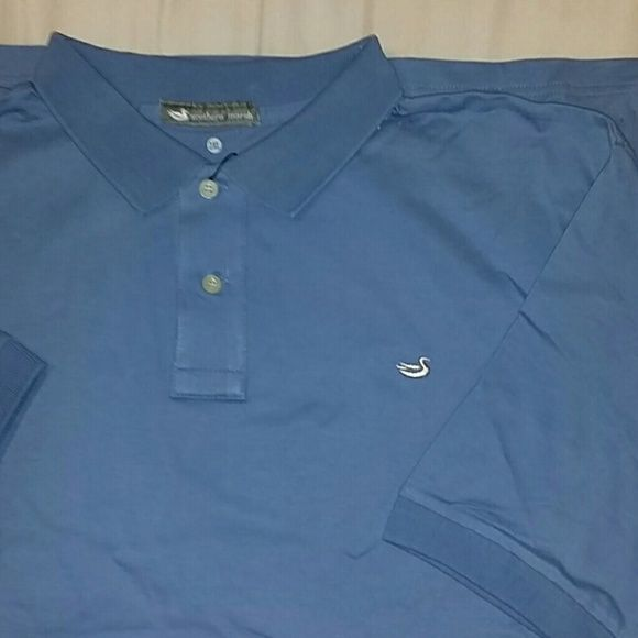 MEN'S Southern Marsh polo shirt, Size 2XL, nwt New with tags! Men's Southern Marsh short sleeve polo shirt in a lovely soft blue color. Size 2XL, but runs small. Fits like an XL. Chest measures 26.5 inches across laying flat. 30.5 inches long from the shoulder. 94% cotton, 4% elastin. New with tags, never worn. It is a little wrinkled from being stored. Southern Marsh  Tops
