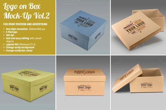 Download 5 Photorealistic Logo On Box Mockups Box Mockup Business Card Mock Up Packaging Mockup