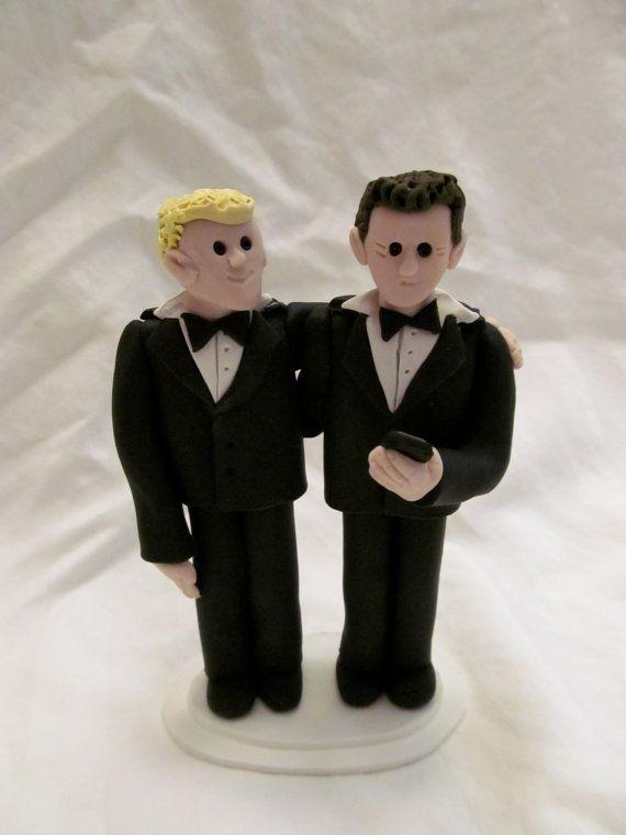 Groom and Groom Hand Sculpted Custom Wedding Cake Topper by JesseMcCoyJames
