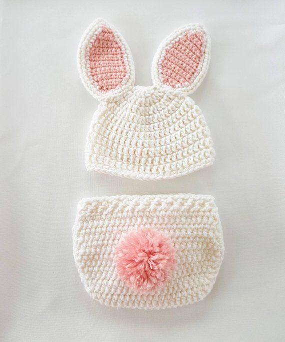 072a6a57f85d2 Crochet newborn Easter bunny photo prop outfit