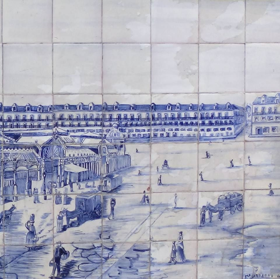 Praça da Figueira - Azulejos (detalhe), fábrica Sant`Anna.séc. XIX - Lisboa - Portugal. Tiles (detail), Sant`Anna factory. Figueira`s Square, 19th century, Lisbon.