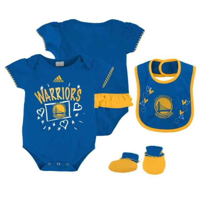 Golden State Warriors  Golden State Warriors Girls Bib   Bootie Creeper  Set-Royal dc5e93697