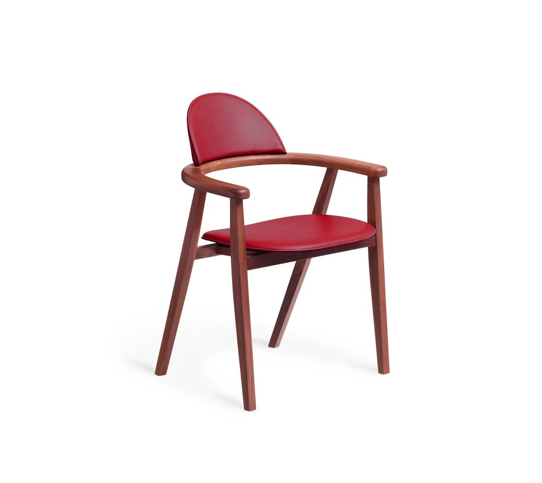 """Hermes chair. L23.6"""" x H32.9"""" x W21.7"""" Canaletto walnut frame and base. Back and seat in smooth ebony taurillon leather."""