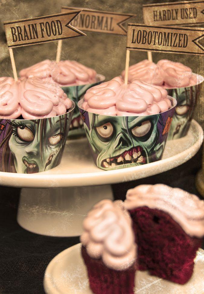 Free Zombie Cupcake Printables Zombie cupcakes Flags and Zombie
