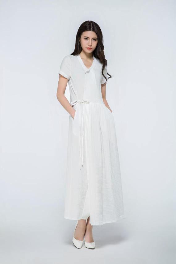 Robe En Lin Blanc Robe Longue Blanche Maxi Robe En Lin Robe Embroidered Mesh Dress White Maxi Dresses Linen Maxi Dress