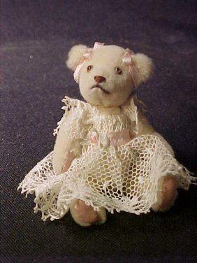 """Carol Stewart, IGMA fellow - teddy bear dressed in lace; 2"""" high"""