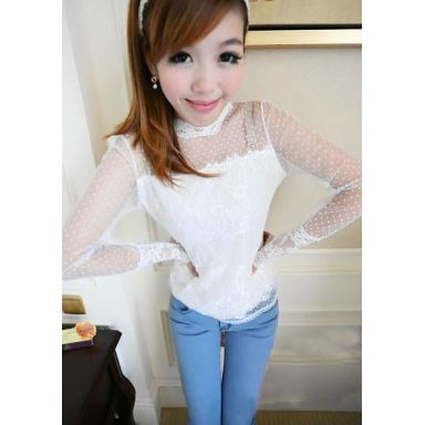Women's Casual White O-Neck Patchwork Lace Blouse - 183840904