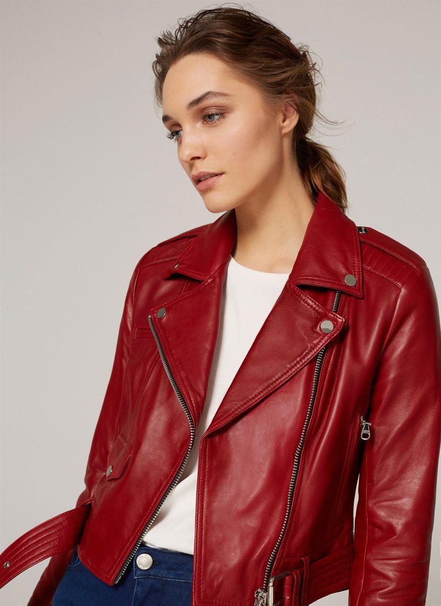 Tener cuidado de diseñador de moda retro Cazadora piel color rojo | cµ£rø chic en 2019 | Cazadora ...