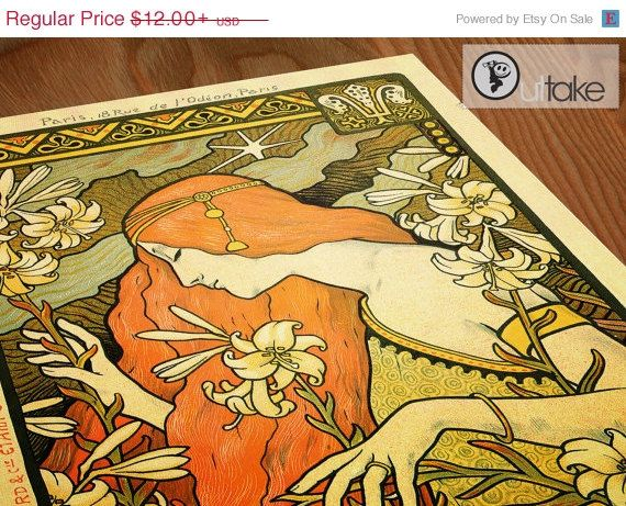 Art Nouveau Advertisement by Paul Berthon от OuttakePrints на Etsy, $10.20