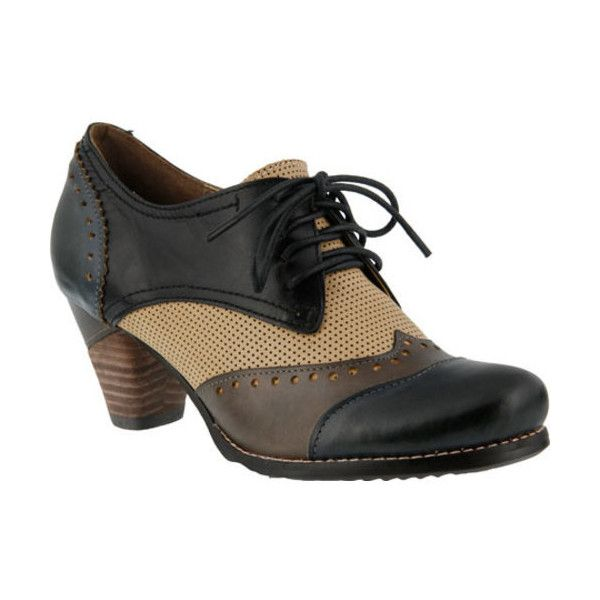 Women's L'Artiste by Spring Step Bardot Lace Up ($130) ❤ liked on Polyvore featuring shoes, oxfords, blue, casual, casual shoes, leather lace up shoes, perforated oxfords, block shoes, lace up oxford shoes and round cap