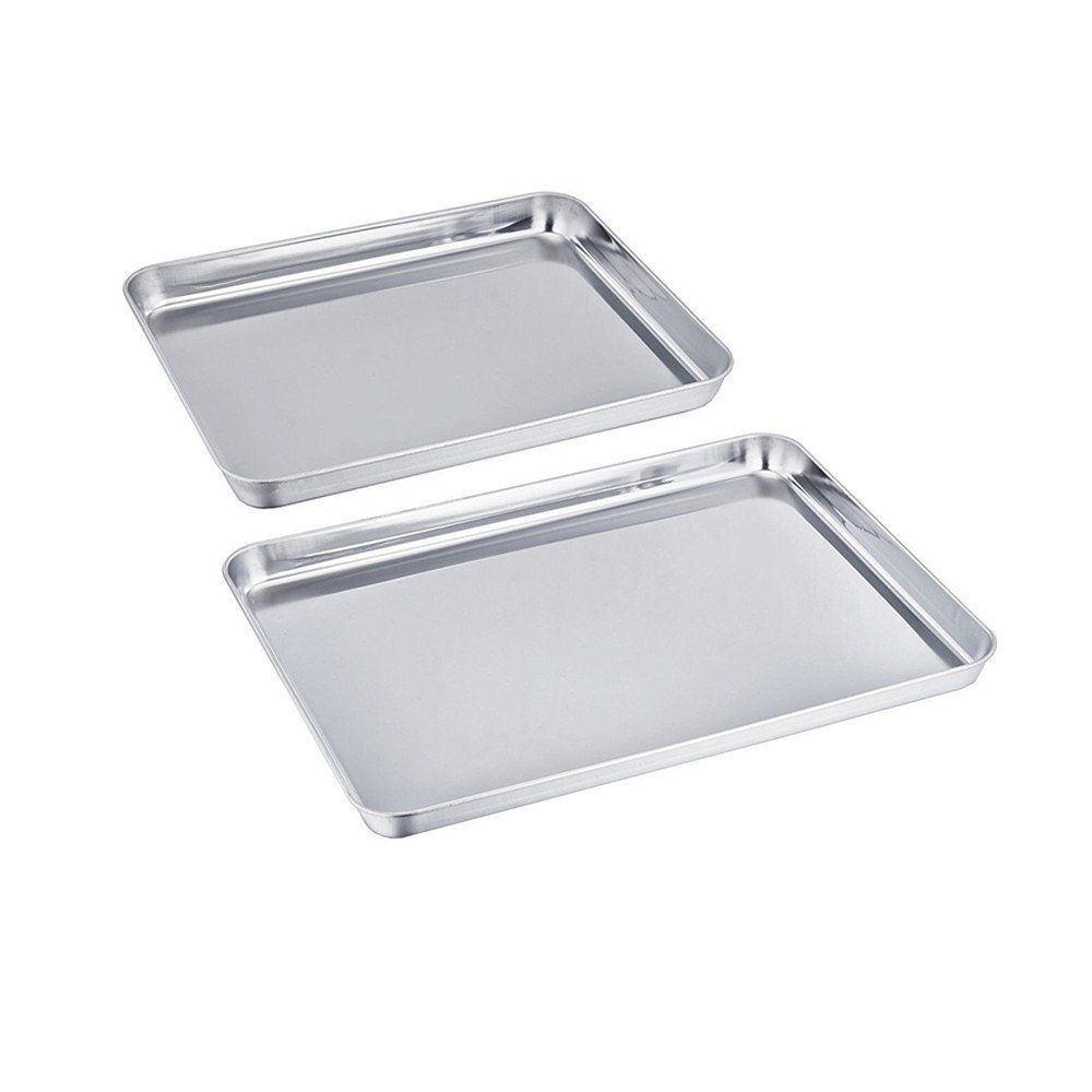 Uniqme Baking Pan Set Of 2 Pure Stainless Steel Healthy Non Toxic Toaster Oven Tray Pan Rust Free And Less Stick R How To Clean Rust Easy Cleaning Toaster Oven