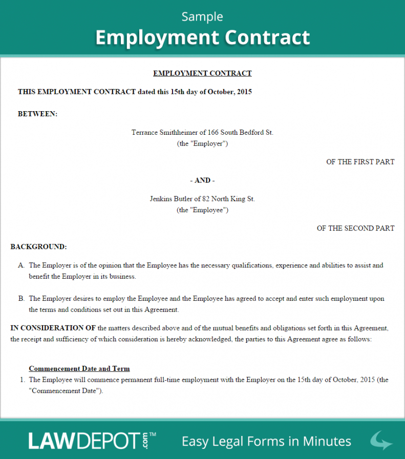 Employment Contract Template Us Lawdepot Casual Worker Contract Template Letter Of Employment Contract Template Employment