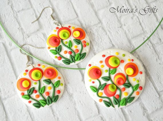 Blooming garden jewley set Polymer clay jewelry by MoirasGifts