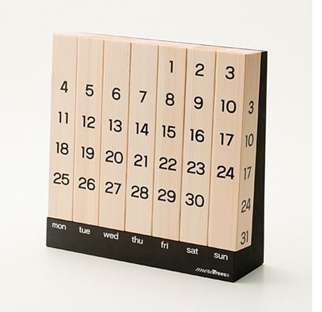 With 67% of Japan covered by forest and aggressive deforestation a troubling concern, designer Keita Shimizu created the More Trees Perpetual Calendar. By simply rotating each piece of wood to match the weekly structure of any month, Keita created a calendar that can be used forever. I love this brilliant piece of design and that it has so much meaning beyond its attractive good looks.