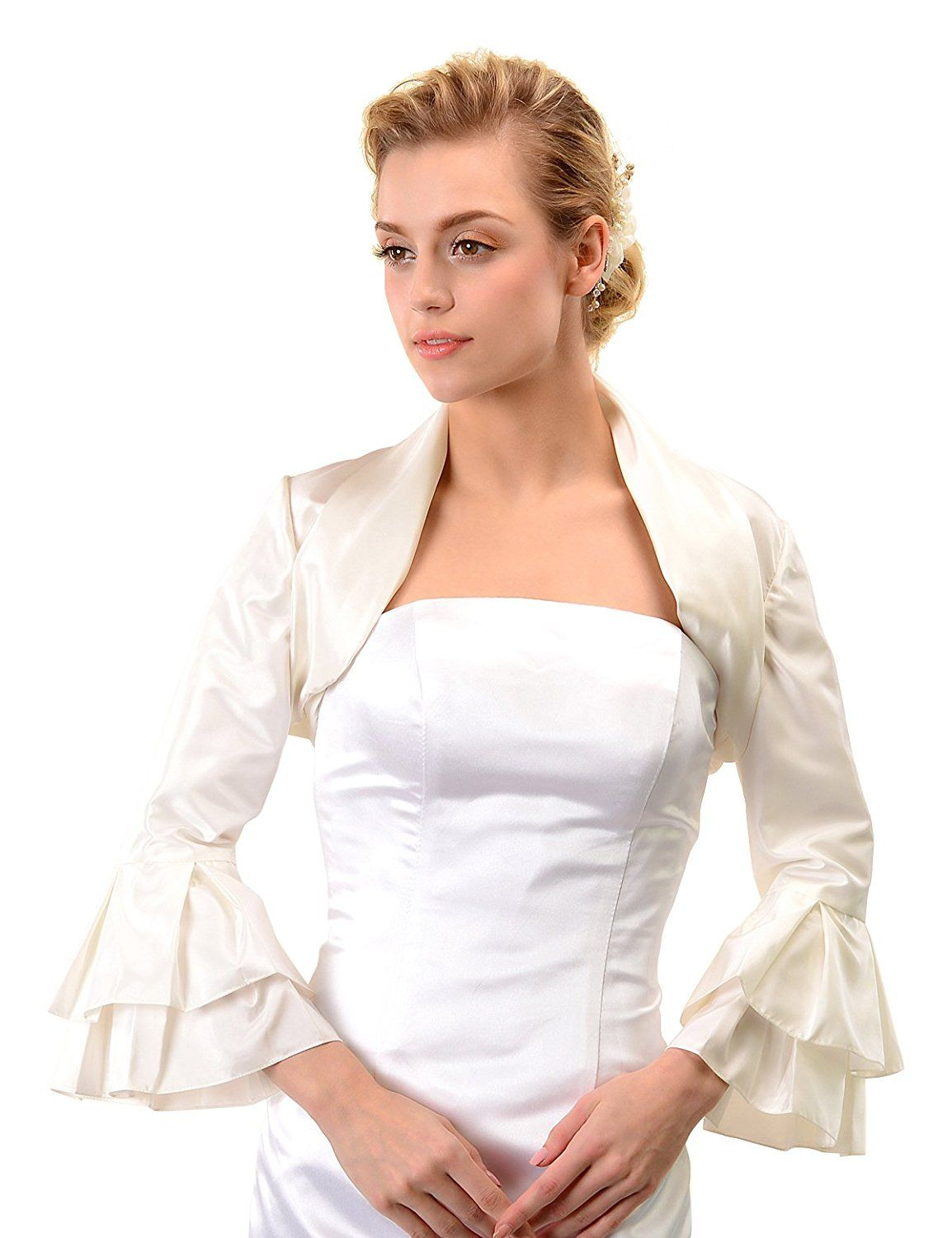 fc0764b171e Topwedding Ivory Satin Wedding Bolero Jacket Bridal Dress Shrug w Trumpet  Sleeve