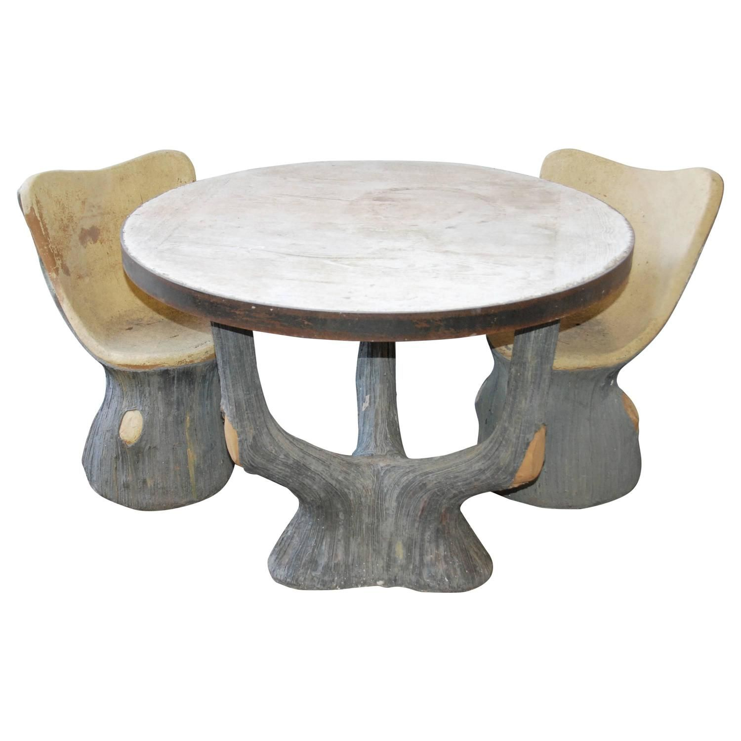 French Faux Bois Garden Table And Chairs