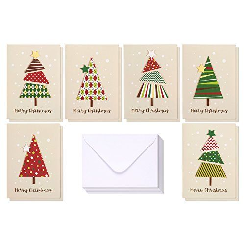set of 12 merry christmas greetings cards bulk handmade christmas cards with assorted christmas tree themes includes white vflap envelopes 5 x 7 - Cheap Christmas Cards In Bulk