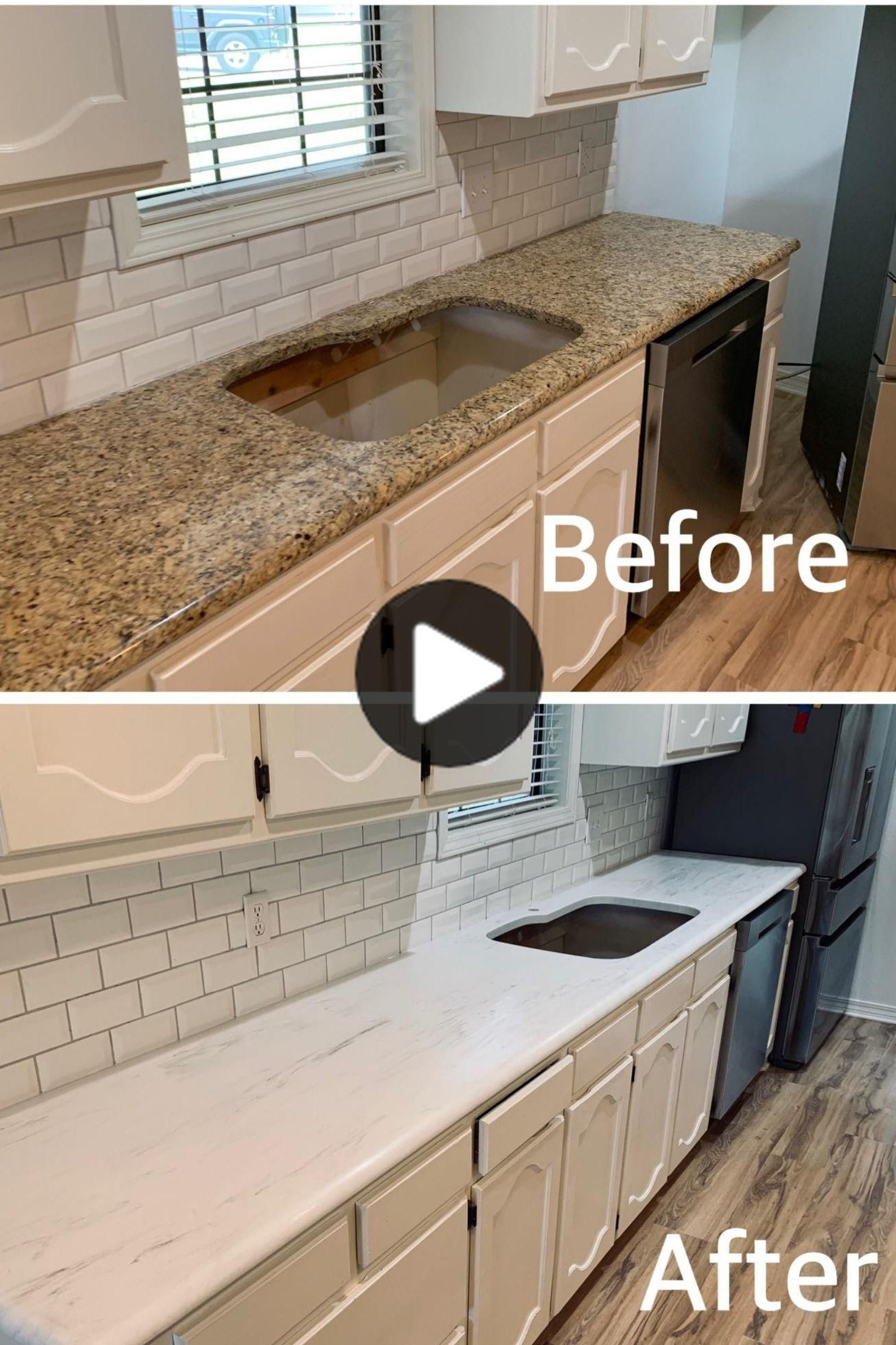 Before And After Epoxy Countertops Diy Epoxy Countertops To Transform Your Space At A Refinish Countertops Painted Countertops Diy Refinishing Countertops Painted Countertops Diy Diy Kitchen Countertops Countertop Makeover