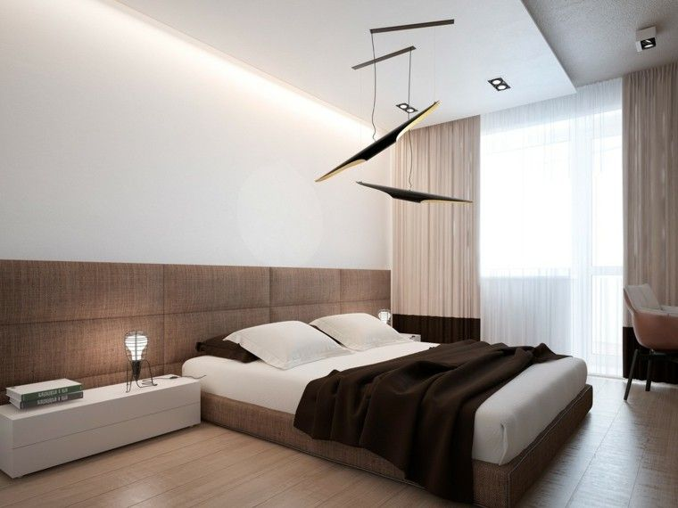 dormitorio estilo minimalistas lamparas negras techo ideas