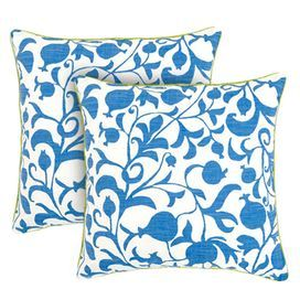 How To Wash Throw Pillows Without Removable Cover Vineprint Throw Pillow In Blue And White With A Cotton Cover