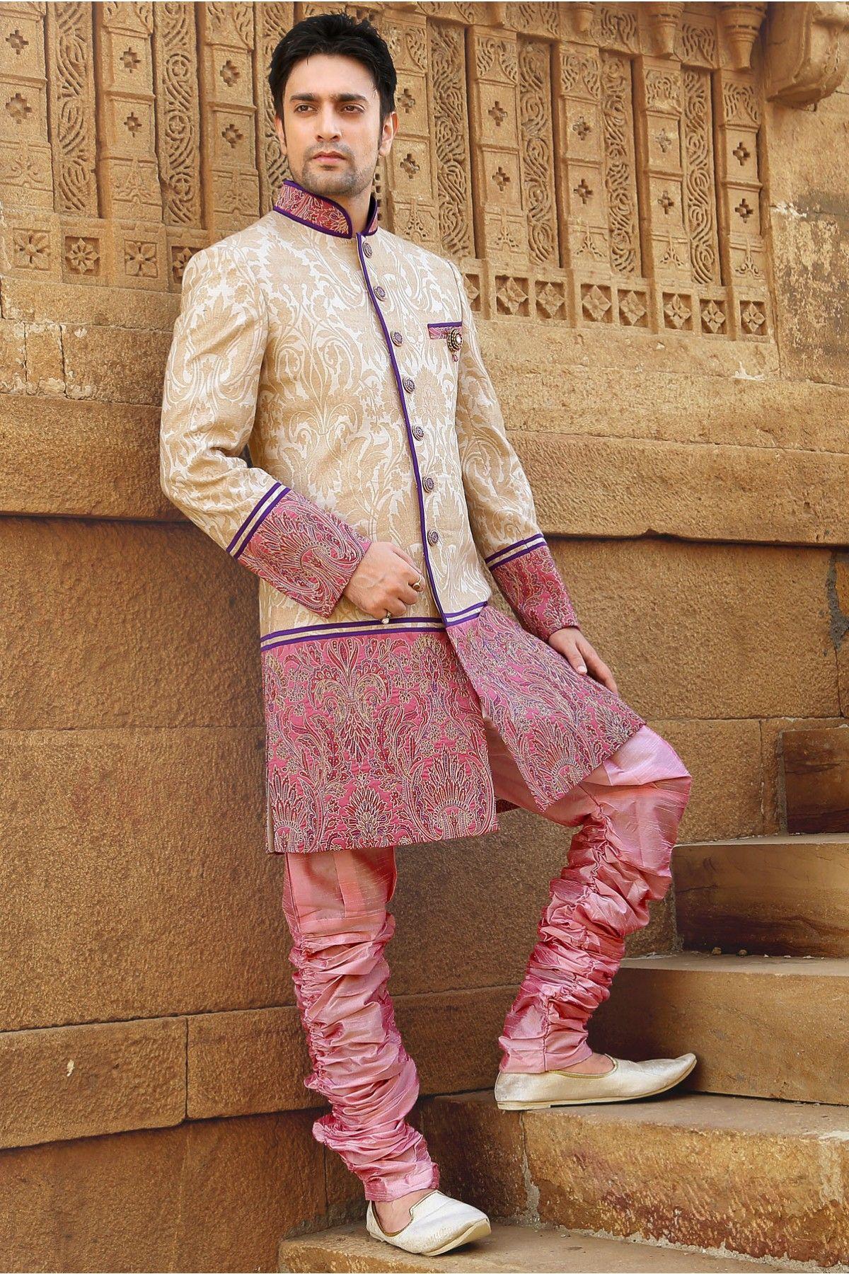 Beige & Pink Brocade weaved straight cut Groom sherwani online ...