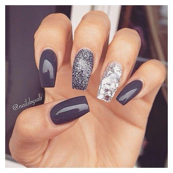 silver & black | Nail Inspo | Nail Art, Nails, Grey nail art