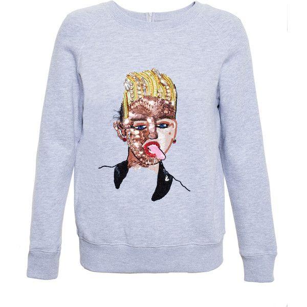 Ashish Sequinned Popstar Sweatshirt (€435) ❤ liked on Polyvore featuring tops, hoodies, sweatshirts, sweaters, red, sequin sweatshirt, red sequin top, embroidered sweatshirts, embroidered top and red top
