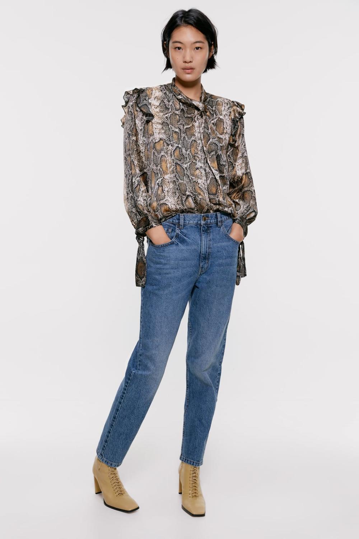 Snakeskin print blouse Top shirt women, Printed blouse