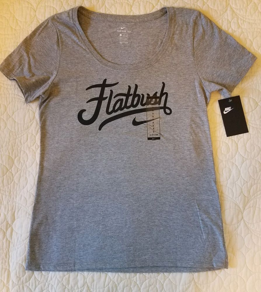 c9c788a97 Nike Women Flatbush Swoosh Gray / Black T-Shirt Tee Size S #Nike #TShirt # Flatbush #Brooklyn