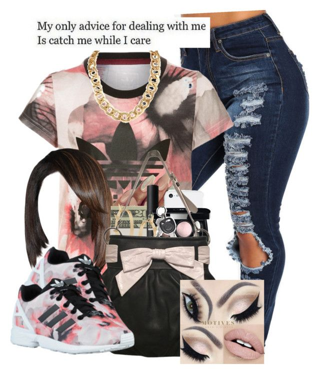 """Idc Anymore..."" by dae2wice ❤ liked on Polyvore featuring adidas Originals, LORAC, Chanel, Miss Selfridge and Moschino"