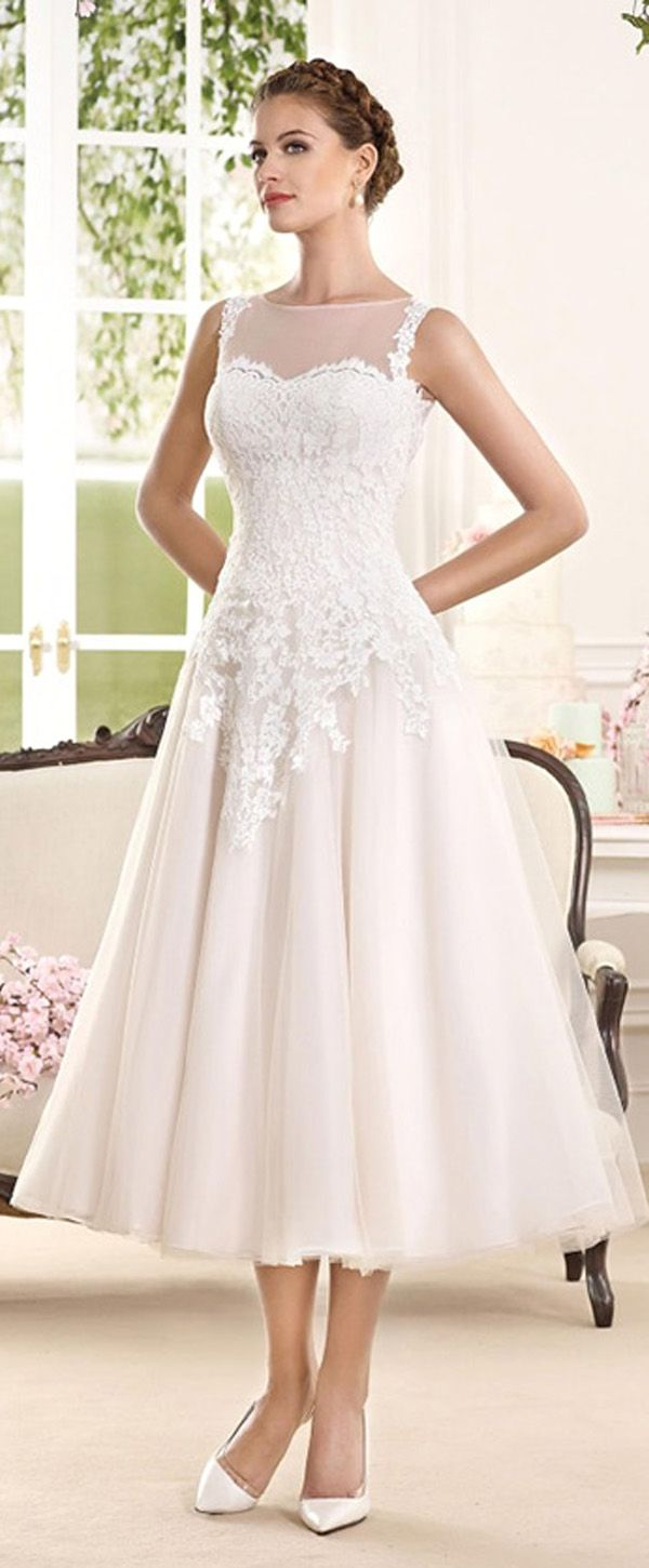 Glamorous Tulle & Satin Bateau Neckline A-Line Tea-length Wedding ...