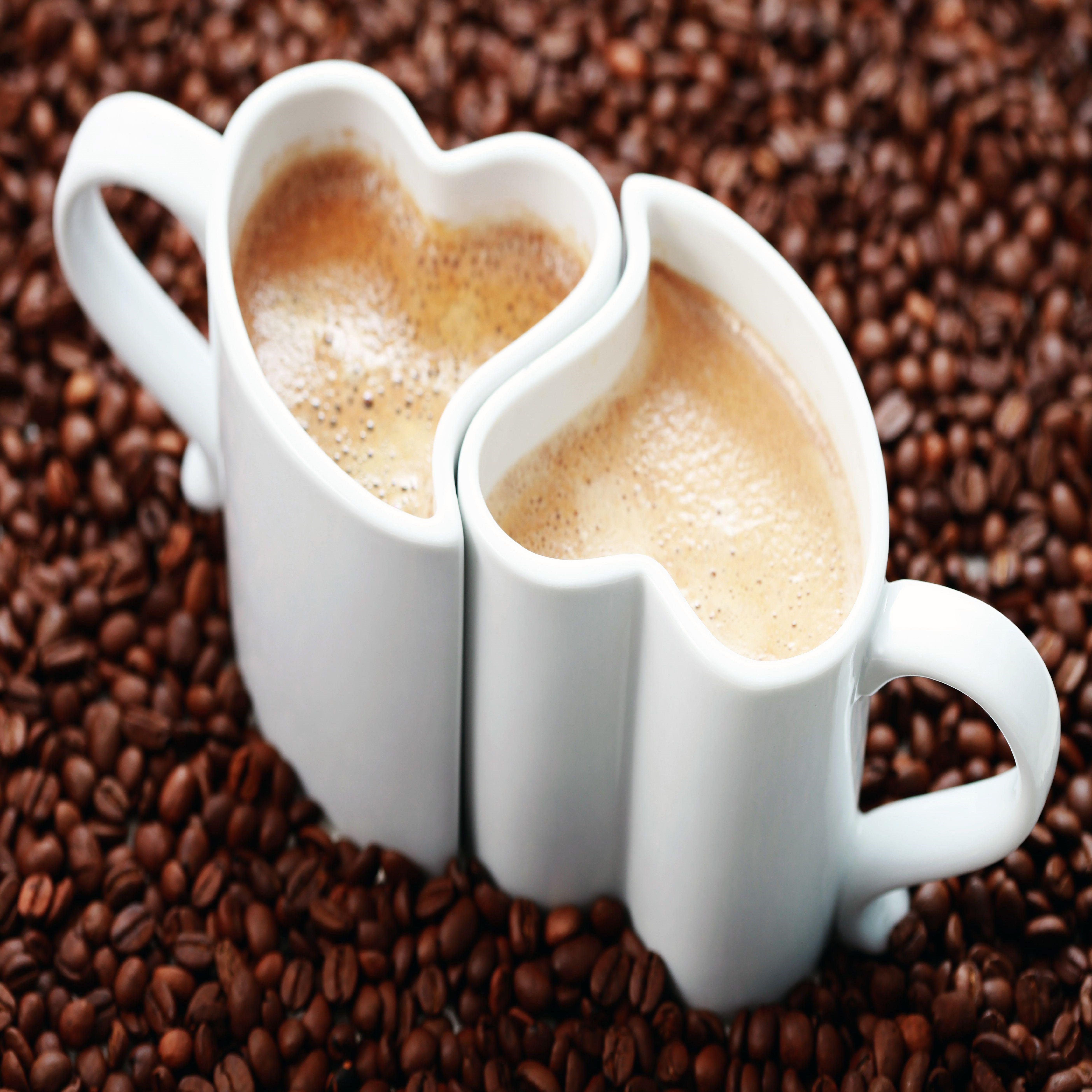Photo Valentines Day Heart Coffee Grain Mug Food Drinks