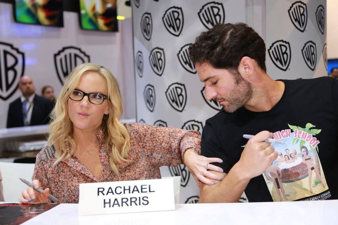 Rachel Harris And Tom Ellis At Comic Con 2017 After The Lucifer Panel Tom Ellis Rachel Harris Lucifer