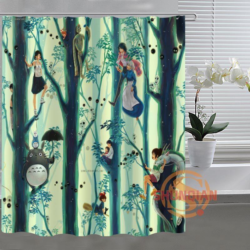Studio Ghibli Totoro Custom Shower Curtain Bathroom Fabric For