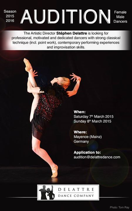Audition Poster Of The Delattre Dance Company Season 2015