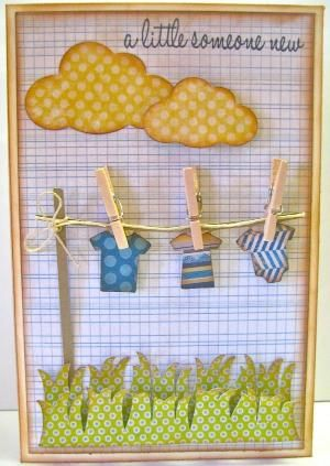 baby scrapbook layout element using cloud punch by lisa.w