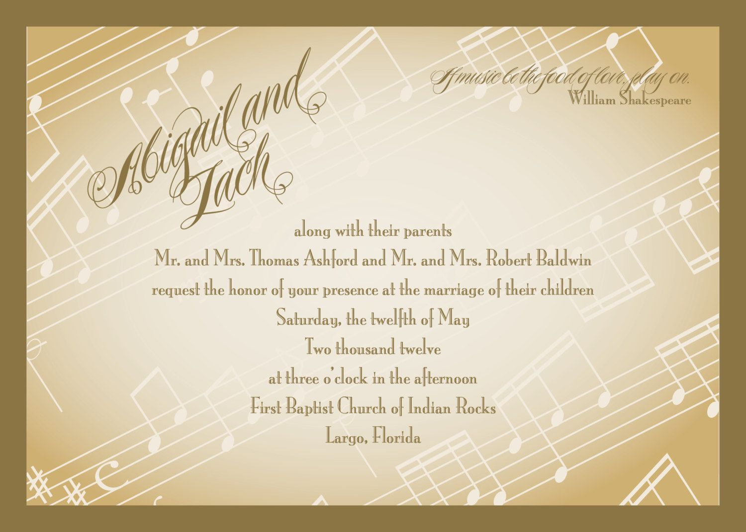 Love Quotes Wedding Invitation Romantic Music Is Food Of Love Wedding Invitation Rsvpitcoa