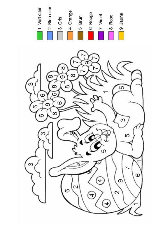 Coloriage Paques Gs.Coloriage Magique Le Lapin De Paques Se Repose Animaux A