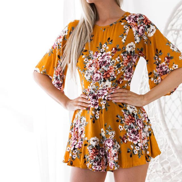 Hip Boho Overalls Elegant Print Jumpsuit, Floral Half Sleeve Beach