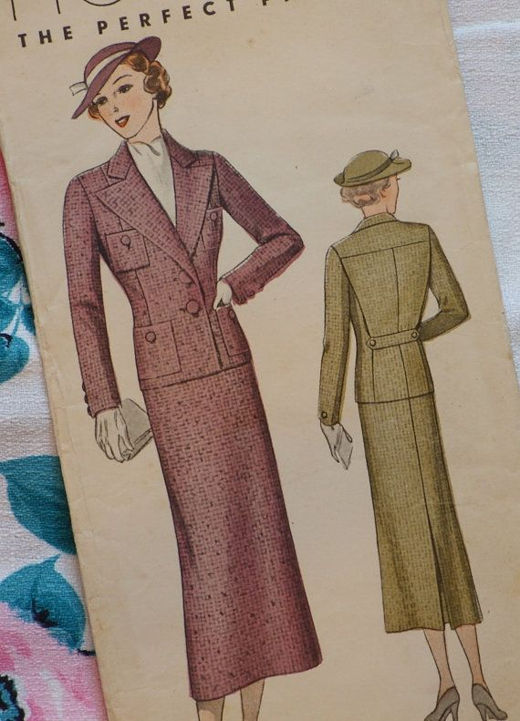 RARE & UNUSED 1930s Original PICTORIAL Sewing Pattern Chic Skirt ...