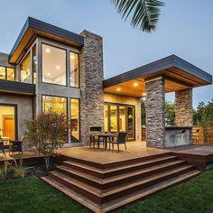 Traumhaus modern holz  einfamilienhaus satteldach flach - Google-Suche | Hausideen ...